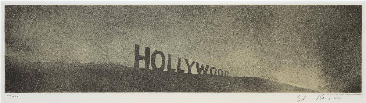 ED RUSCHA Hollywood in the Rain.
