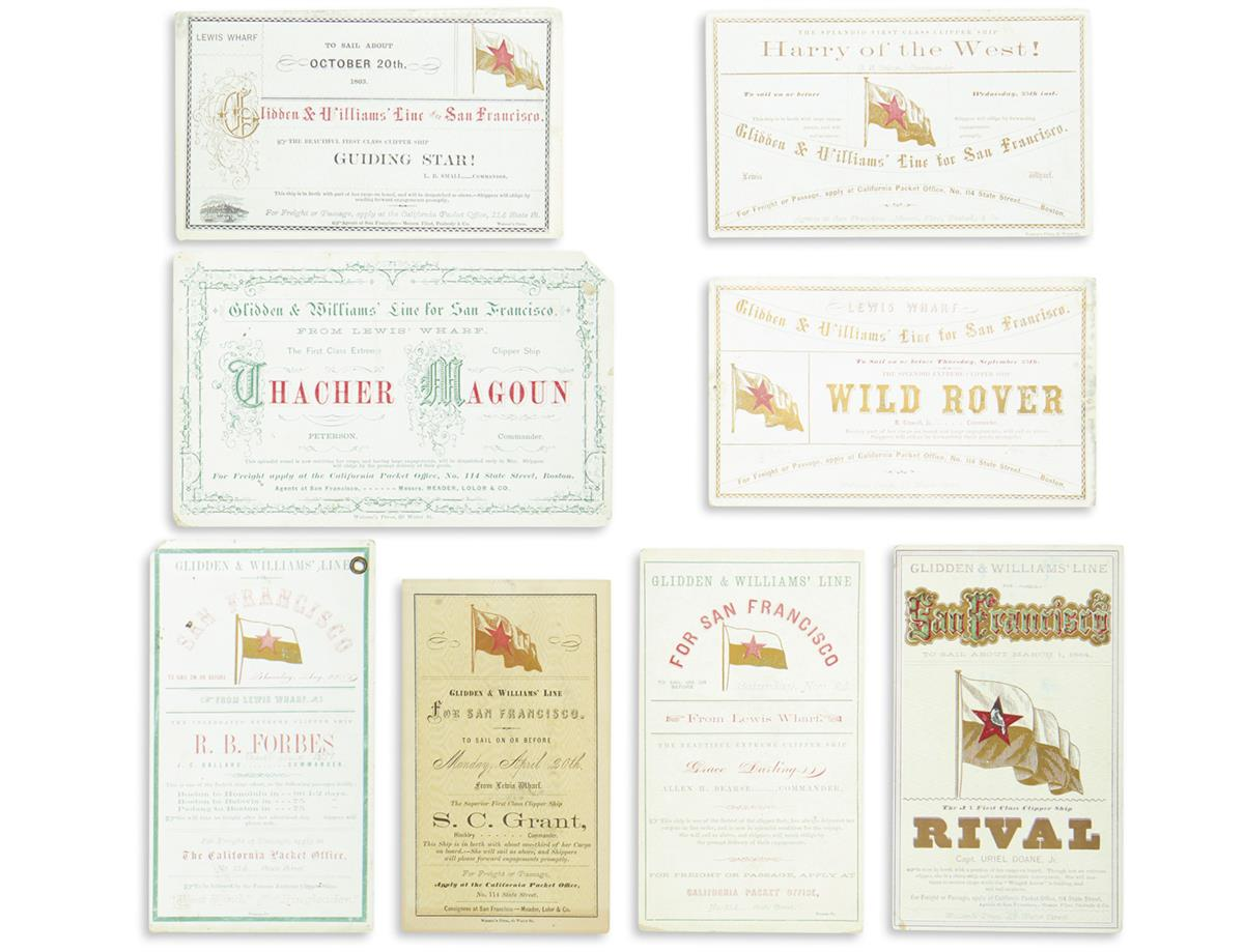 (CALIFORNIA)-Group-of-8-clipper-ship-cards-from-the-Glidden--Williams-Line