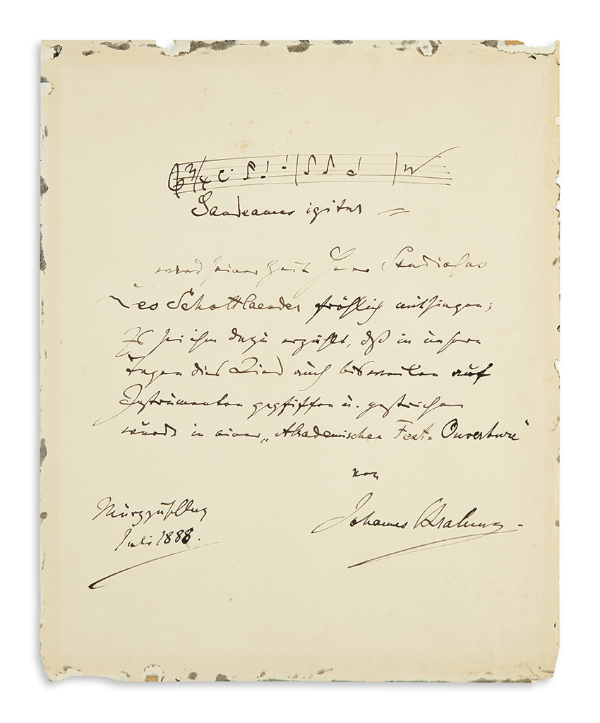 BRAHMS, JOHANNES. Autograph Musical Quotation Signed and Inscribed, in German, three bars from Gaudeamus Igitur in his Academic Festi