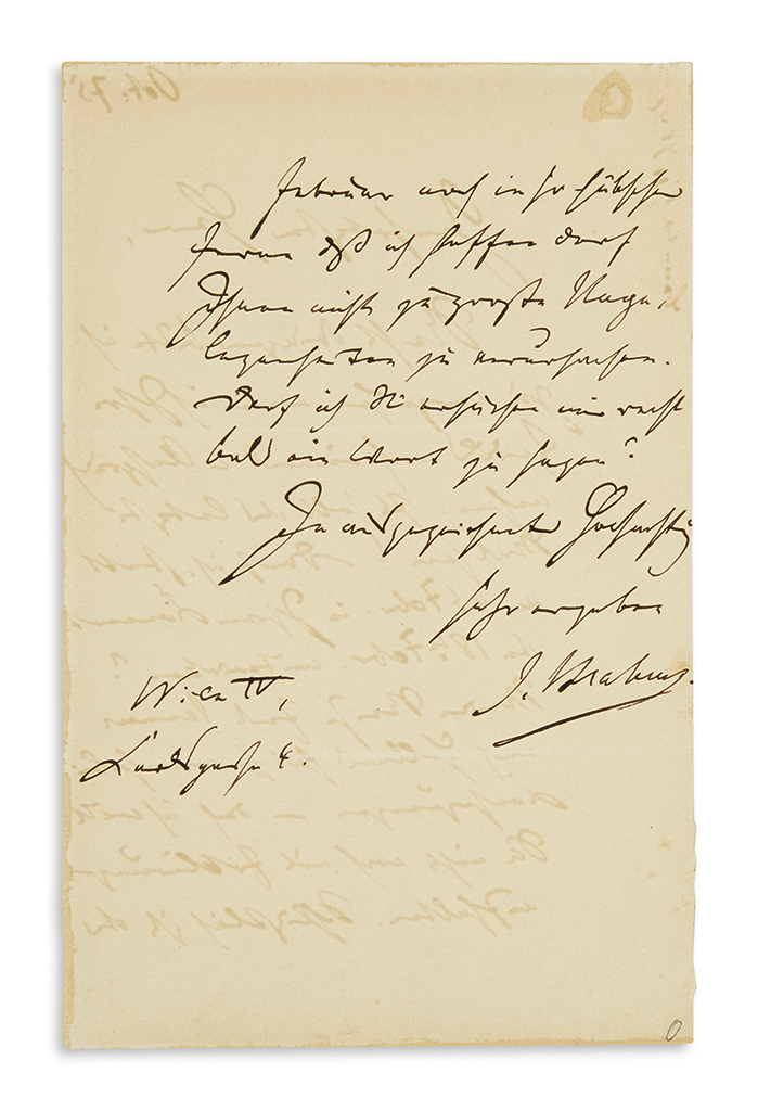 BRAHMS, JOHANNES. Autograph Letter Signed, J. Brahms, to an unnamed recipient (Esteemed Sir), in German,