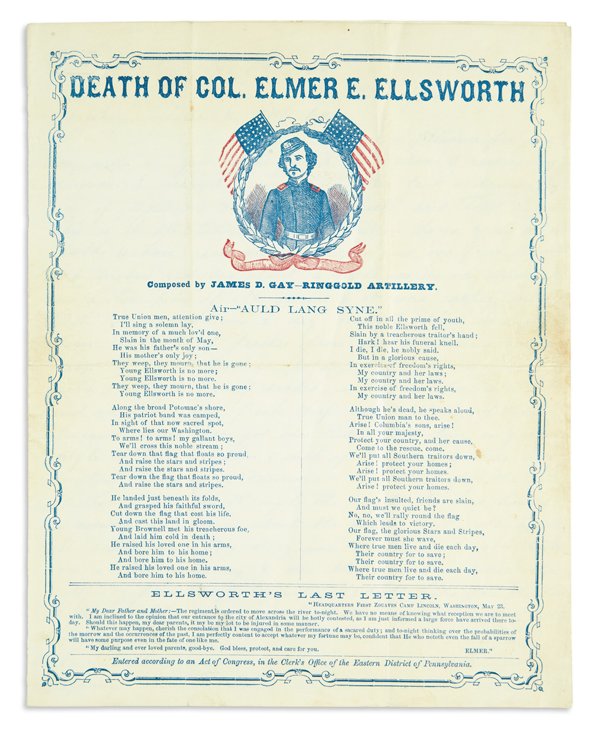 (CIVIL WAR.) Group of ephemera relating to Colonel Elmer E. Ellsworth, the first to die in the war.