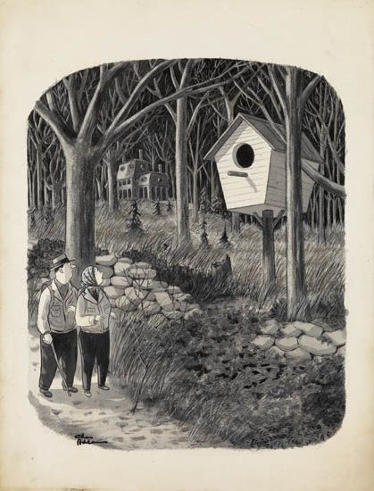 CHARLES ADDAMS. Couple passing a giant bird house.