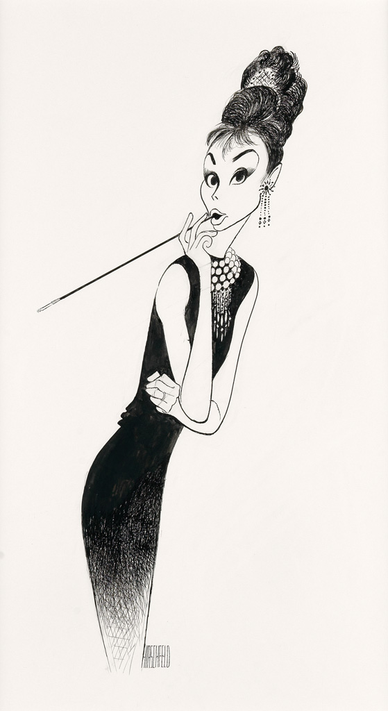 (FILM / CARICATURE.) AL HIRSCHFELD. Breakfast at Tiffanys, Audrey Hepburn with Tiara and Cigarette.