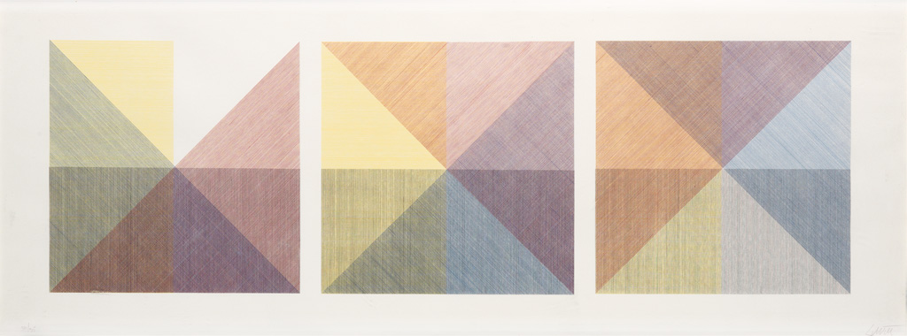 SOL LEWITT Three Squares with a Different Color in Each Half Square (Divided Vertically and Horizontally).