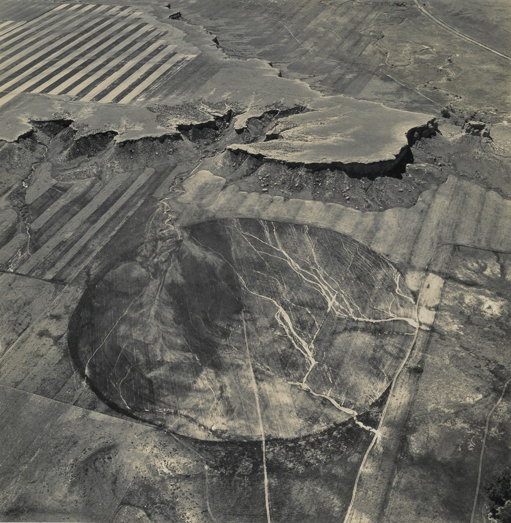 EMMET GOWIN (1941- ) The Buffalo Jump Called Chugwater and Agricultural Pivot near Wheatland, Wyoming.