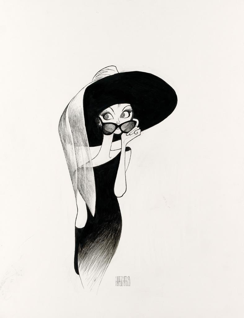 (FILM / CARICATURE.) AL HIRSCHFELD. Breakfast at Tiffanys, Audrey Hepburn with large hat and sunglasses.