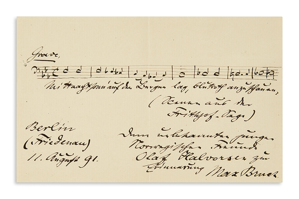 BRUCH-MAX-Autograph-Musical-Quotation-Signed-and-Inscribed-t