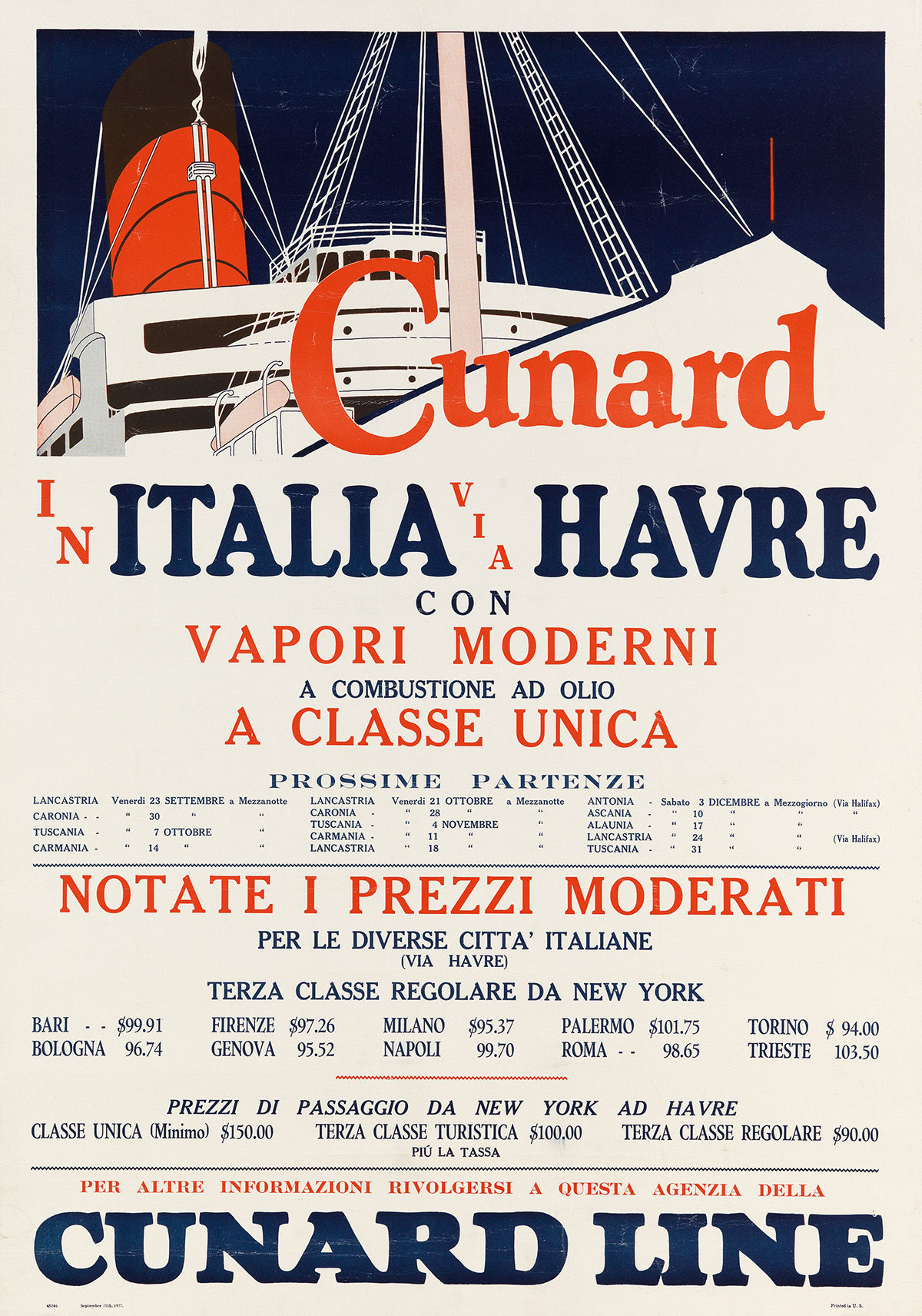 DESIGNERS-UNKNOWN-CUNARD-LINE-Group-of-4-posters-1927-Each-approximately-28x20-inches-71x50-cm-Uniz--Co-New-York