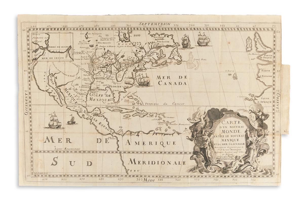 HENNEPIN, LOUIS. Carte dun Nouveau Monde Entre le Nouveau Mexique et la Mer Glacialle.