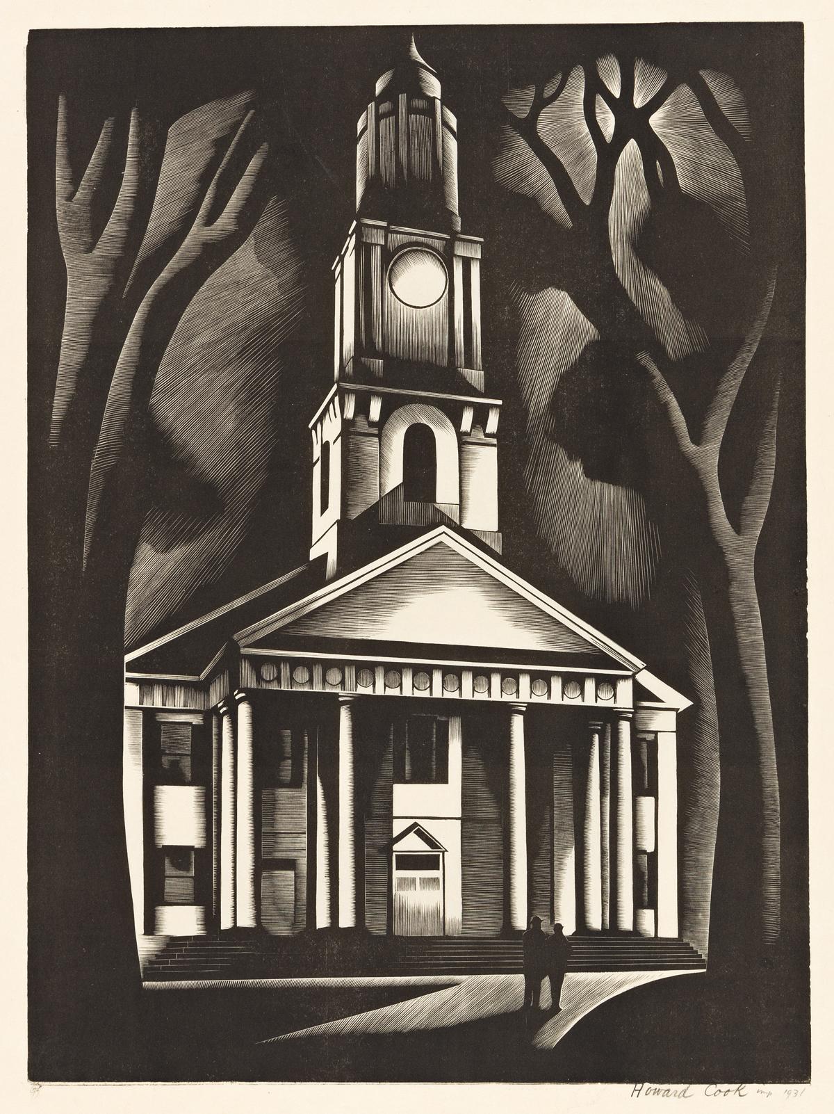 HOWARD COOK (1901-1980) New England Church.