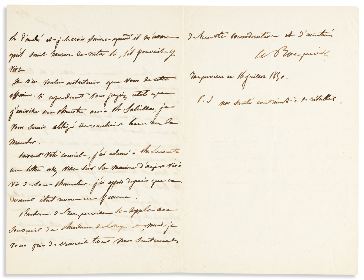 TOCQUEVILLE, ALEXIS DE. Autograph Letter Signed, AdeTocqueville, to Sir, in French,