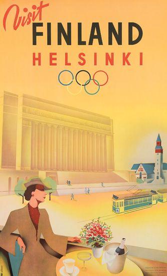 JORMA SUHONEN (1911-1987). VISIT FINLAND / HELSINKI. 1939. 40x24 inches, 101x61 cm. F. Tilgmann O.Y.