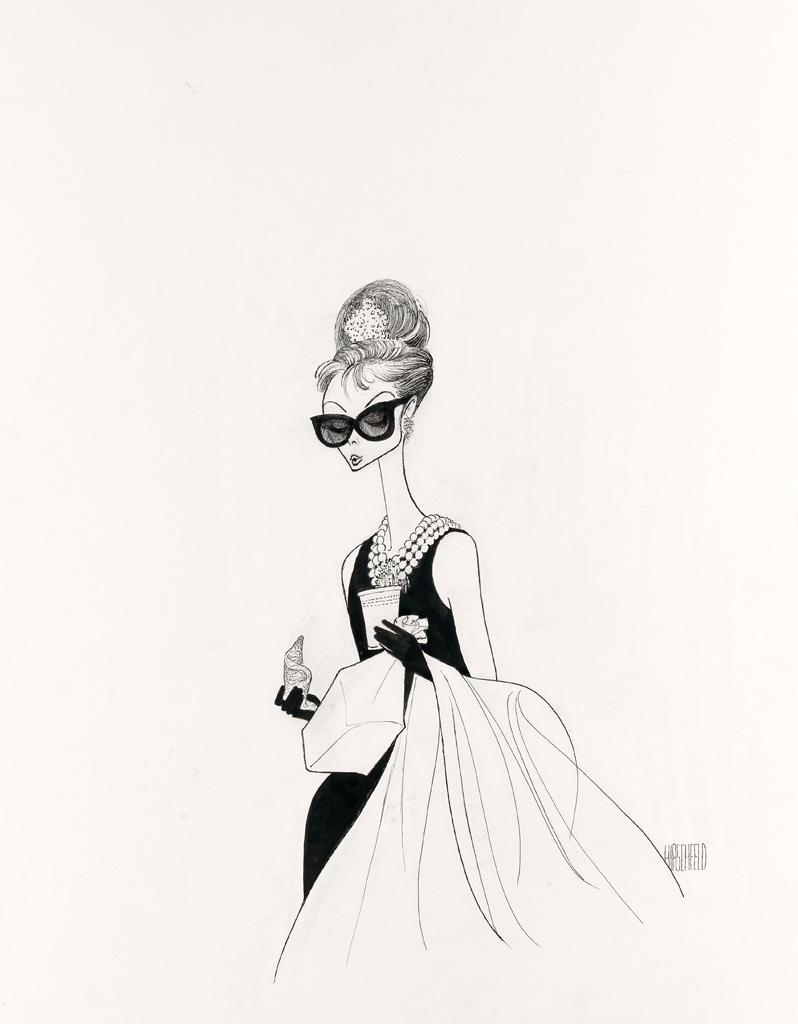 (FILM / CARICATURE.) AL HIRSCHFELD. Breakfast at Tiffanys, Audrey Hepburn with Schraffts bag and croissant.