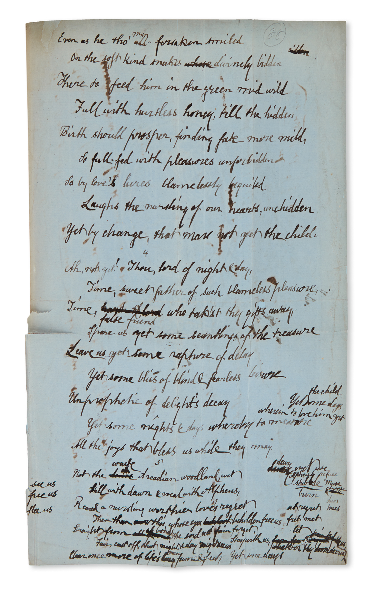 SWINBURNE, ALGERNON CHARLES. A Midsummer Holiday, with three Autograph Manuscripts, unsigned, bound in near the relevant printed poem.