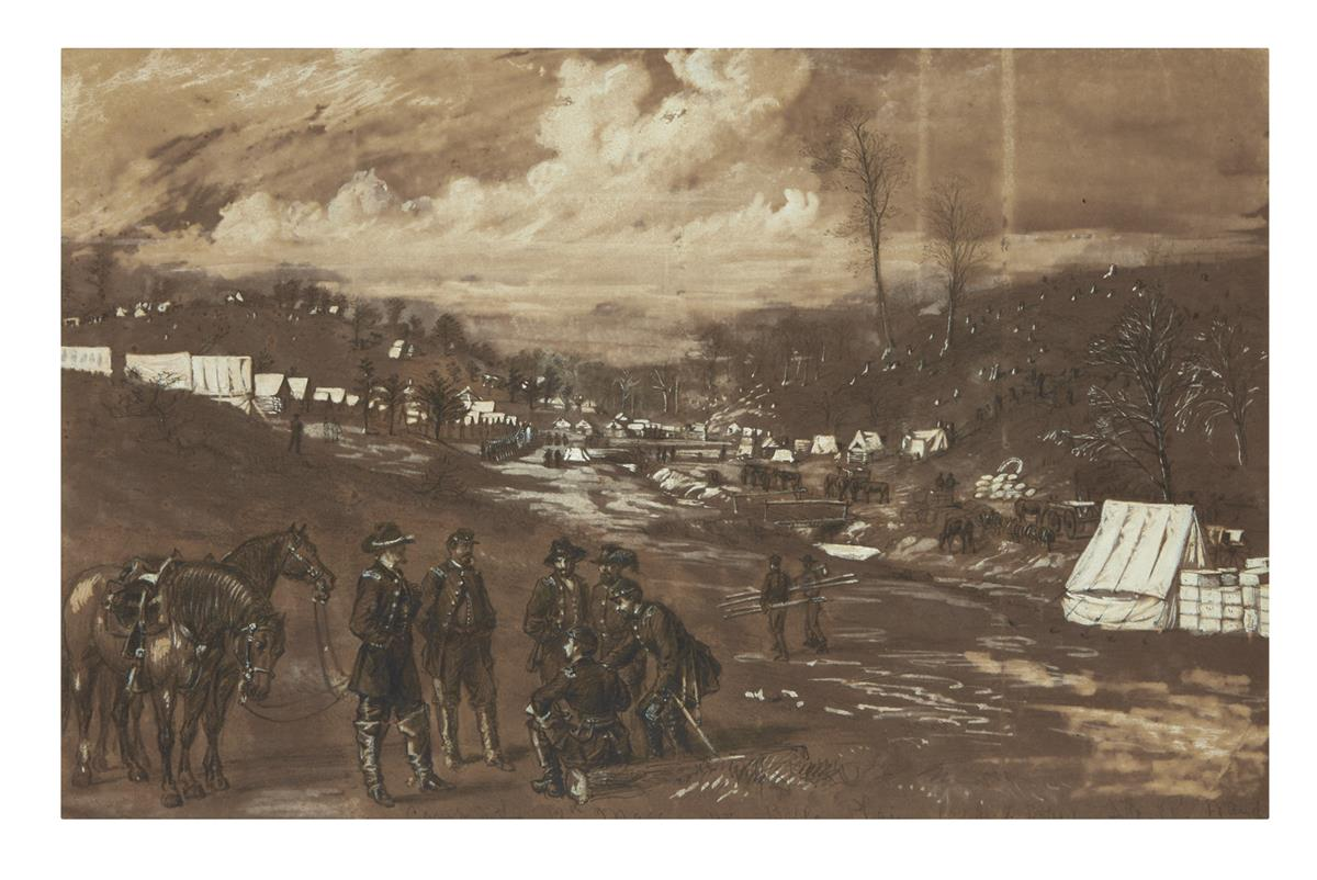 (CIVIL WAR--ART.) [Waud, Alfred.] Camp of the 12th Mass. at Belle Plain, Col. James L. Bates.