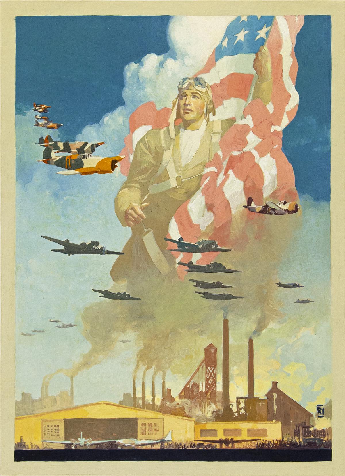RALPH ILIGAN. Defense in the air begins on the ground. [WORLD WAR II / AIR FORCE / POSTER / PROPAGANDA]