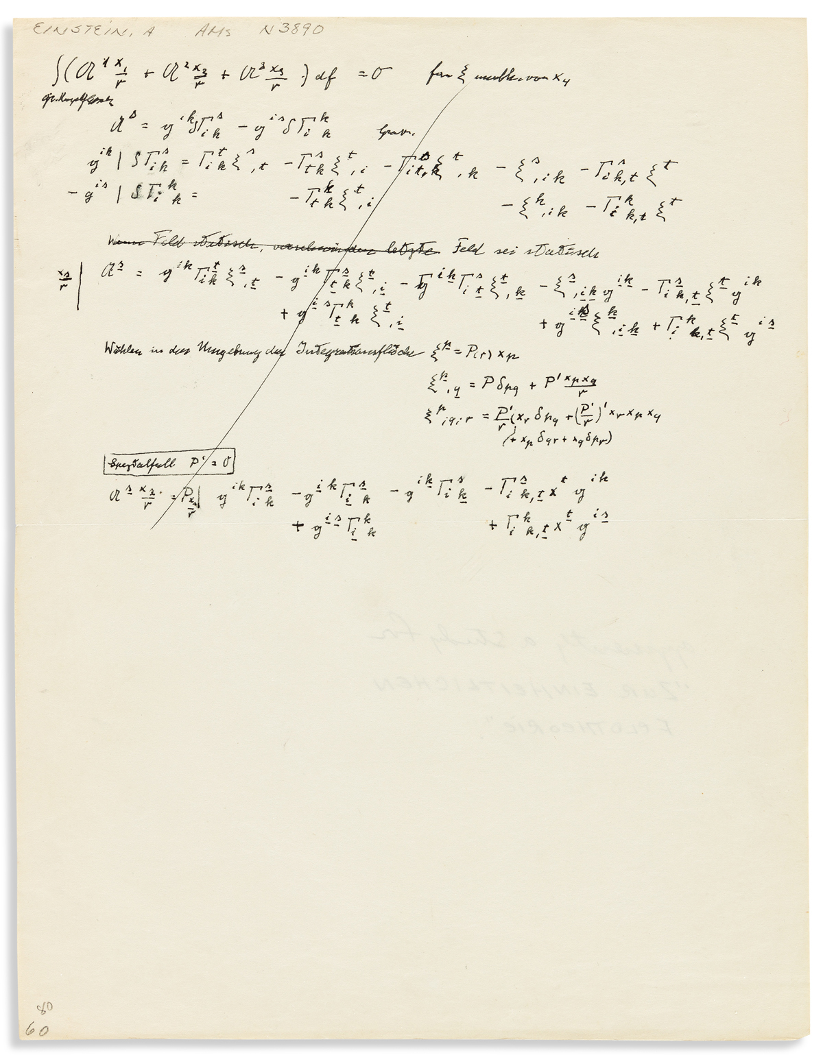 EINSTEIN, ALBERT. Autograph Manuscript, unsigned, in German, 11 lines of equations and three lines of text relating to a static field r