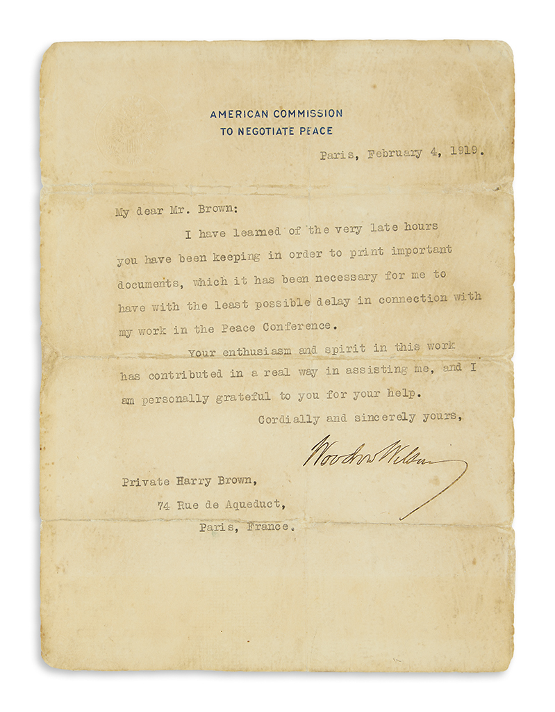WILSON-WOODROW-Typed-Letter-Signed-as-President-to-Private-H
