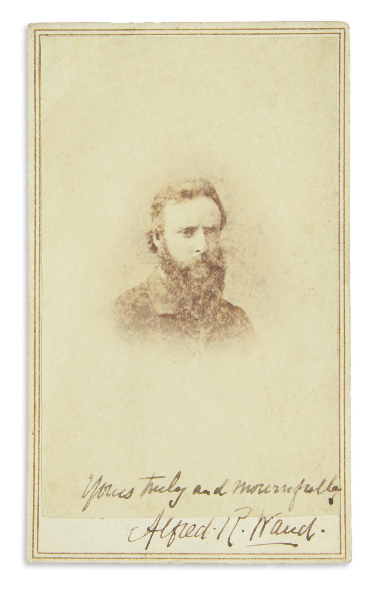 (CIVIL WAR--ART.) Waud, Alfred R. Signed and inscribed carte-de-visite of the great Civil War sketch artist.