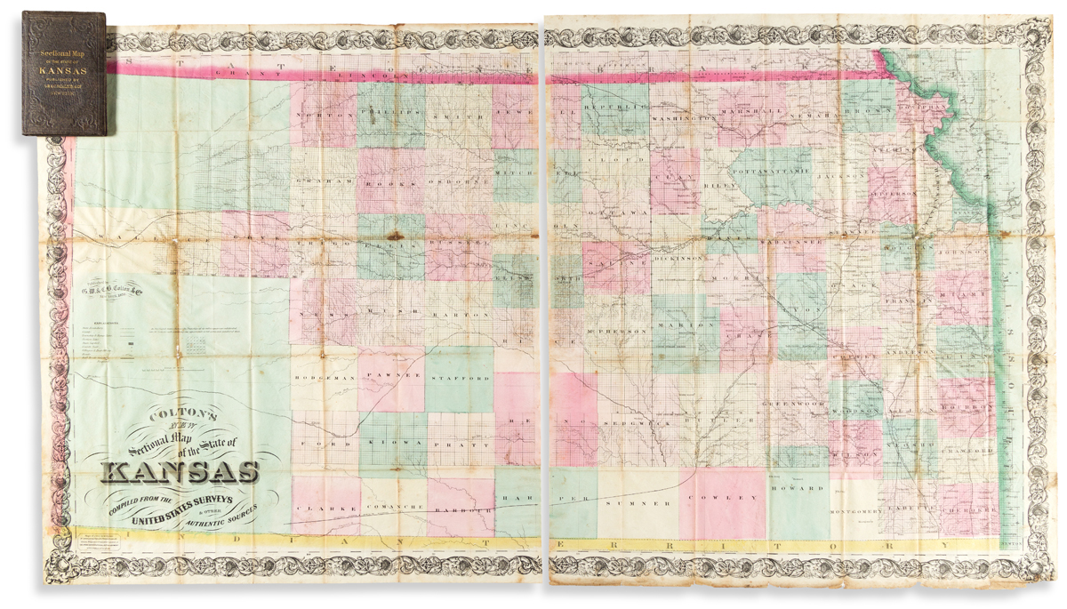 (KANSAS.) G.W & C.B. Colton. Coltons New Sectional Map of the State of Kansas