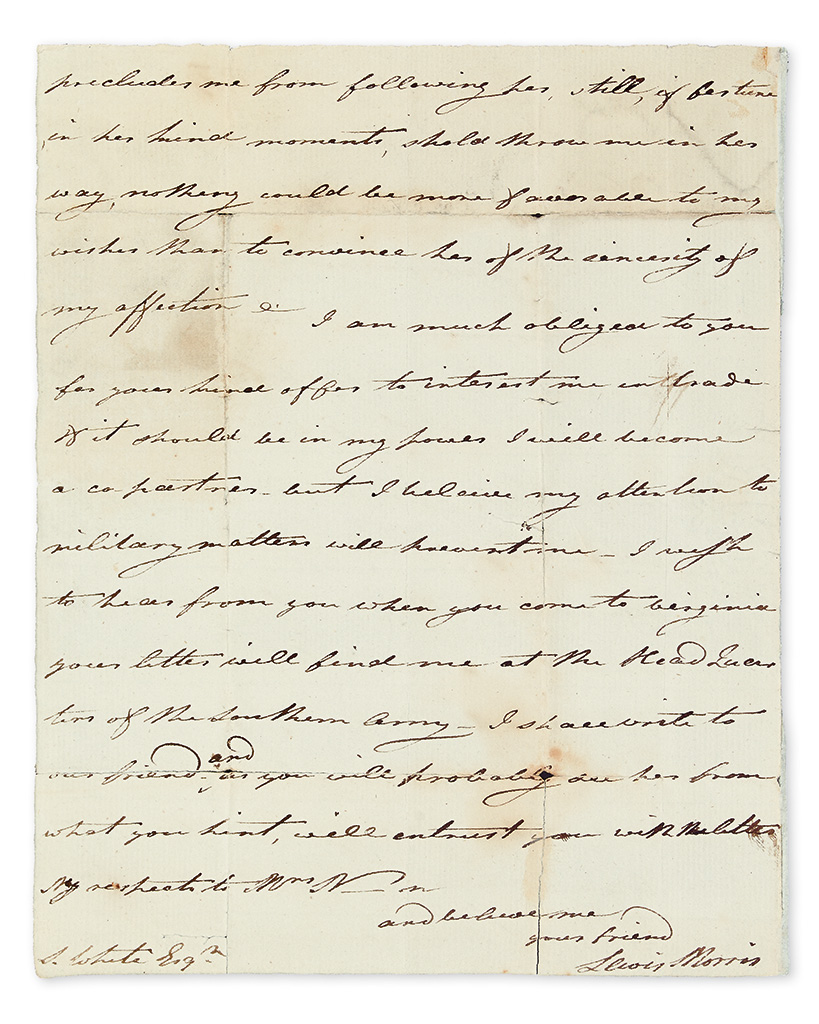 (AMERICAN REVOLUTION.) MORRIS, LEWIS; JR. Autograph Letter Signed, to S. White,