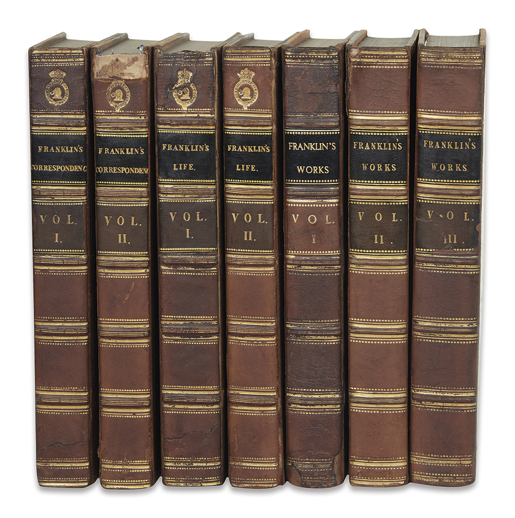 FRANKLIN, BENJAMIN. Three Franklin sets--Memoirs, Works, and Correspondence--in uniform bindings.
