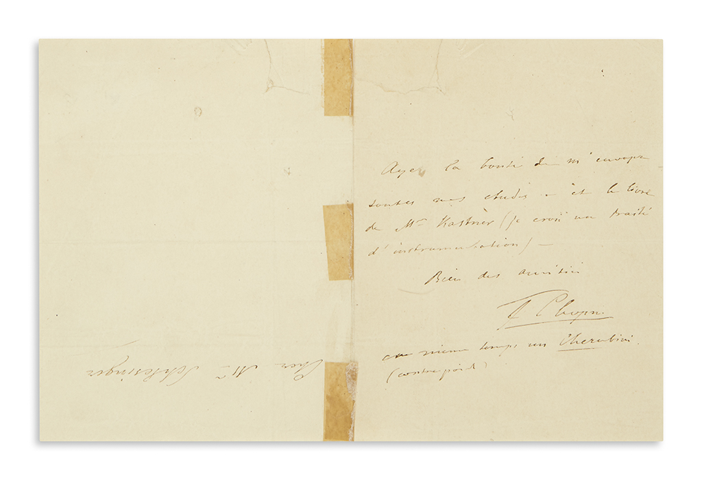 CHOPIN-FREDERIC-Autograph-Note-Signed-F-Chopin-to-Mr-Schlesi