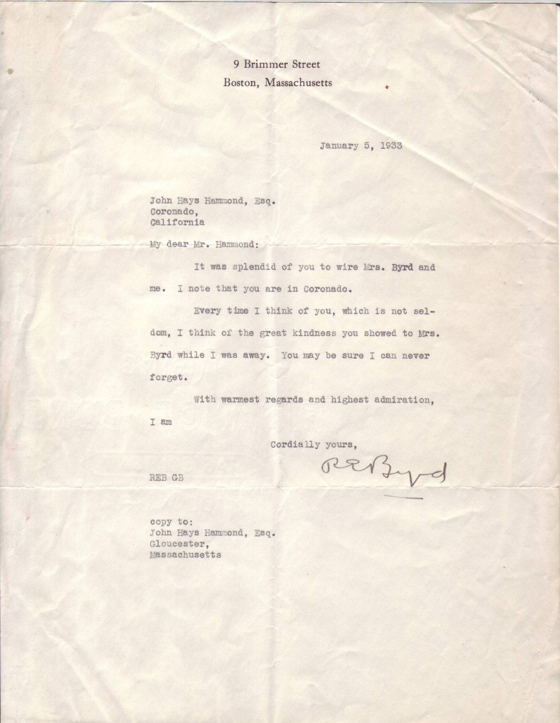 (EXPLORERS)-BYRD-RICHARD-E-Typed-Letter-Signed-REByrd-to-Joh