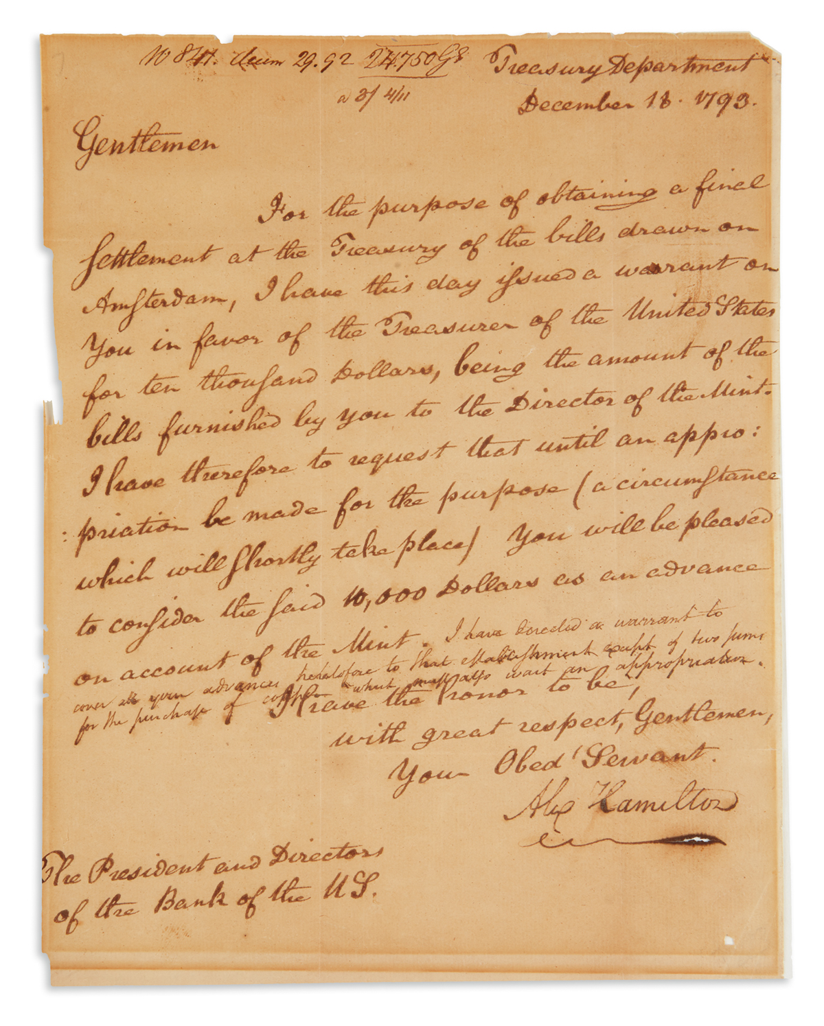 HAMILTON, ALEXANDER. Letter Signed, Alex Hamilton, as Secretary of the Treasury, to the President and Directors of the Bank of the U.