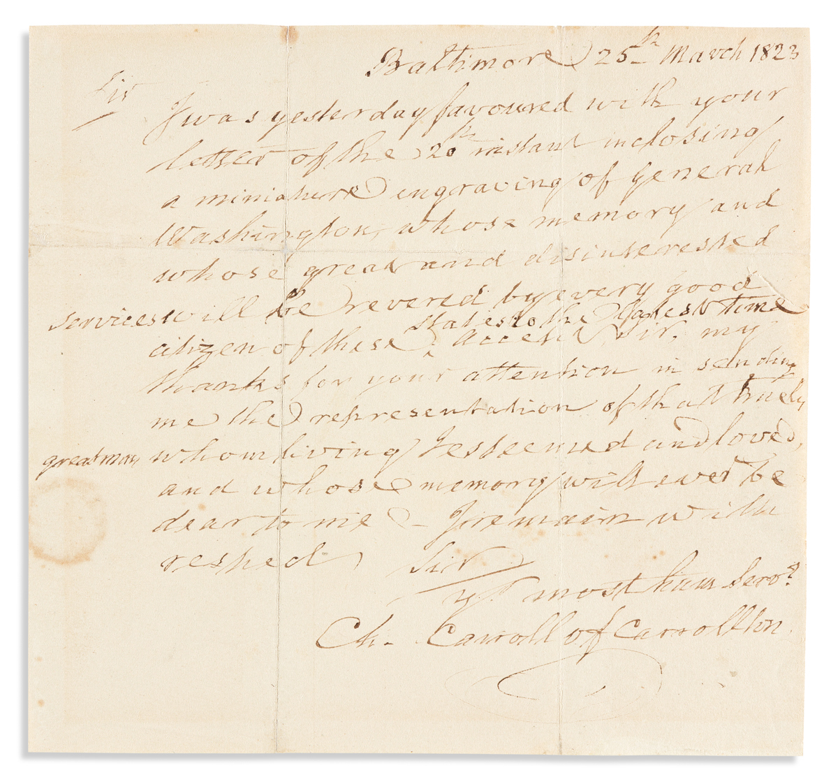 """CARROLL, CHARLES. Autograph Letter Signed, """"Ch. Carroll of Carrollton,"""" to """"Sir,"""""""