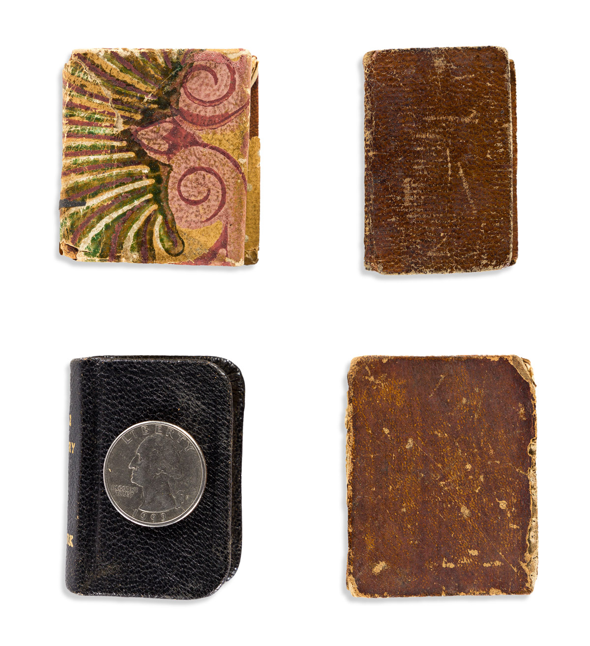 (BIBLE IN MINIATURE.) Group of 4 thumb Bibles--one of them unrecorded.
