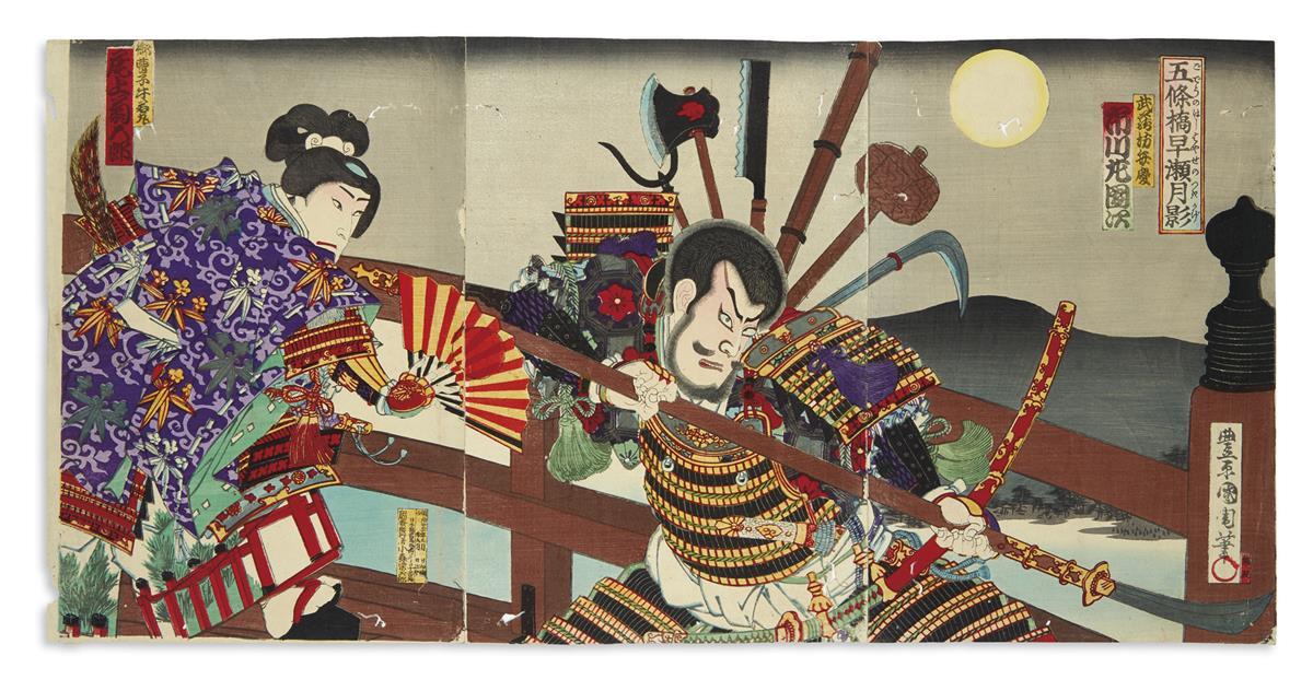 (JAPAN.) Group of 8 large Ukiyo-e color-woodblock triptychs.