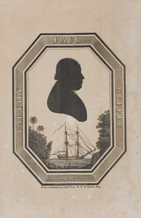 CUFFEE, PAUL. Woodcut silhouette of noted African-American captain Paul Cuffee,