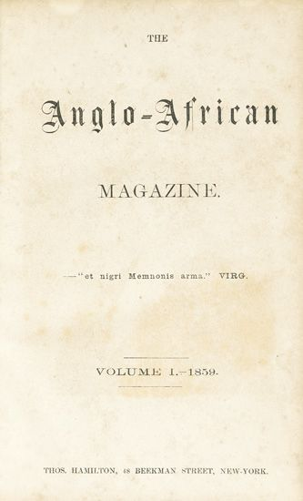 (PERIODICALS.) [DELANY, MARTIN ROBINSON, FRANCES ELLEN HARPER, et al.] The Anglo-African Magazine.