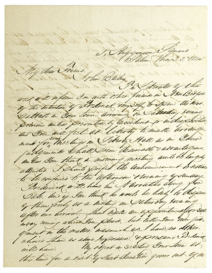 (SLAVERY AND ABOLITION--DOUGLASS, FREDERICK.) REMOND, CHARLES LENOX. Autograph Letter Signed to John Bailey, Jeweller of New Bedford, M