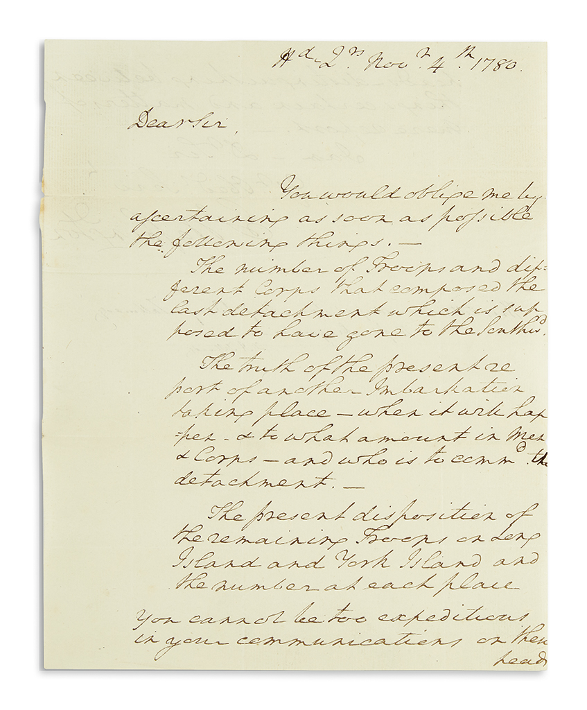 (AMERICAN REVOLUTION.) WASHINGTON, GEORGE. Autograph Letter Signed, G:Washington, as Commander-in-Chief, to Benjamin Tallmadge, reque
