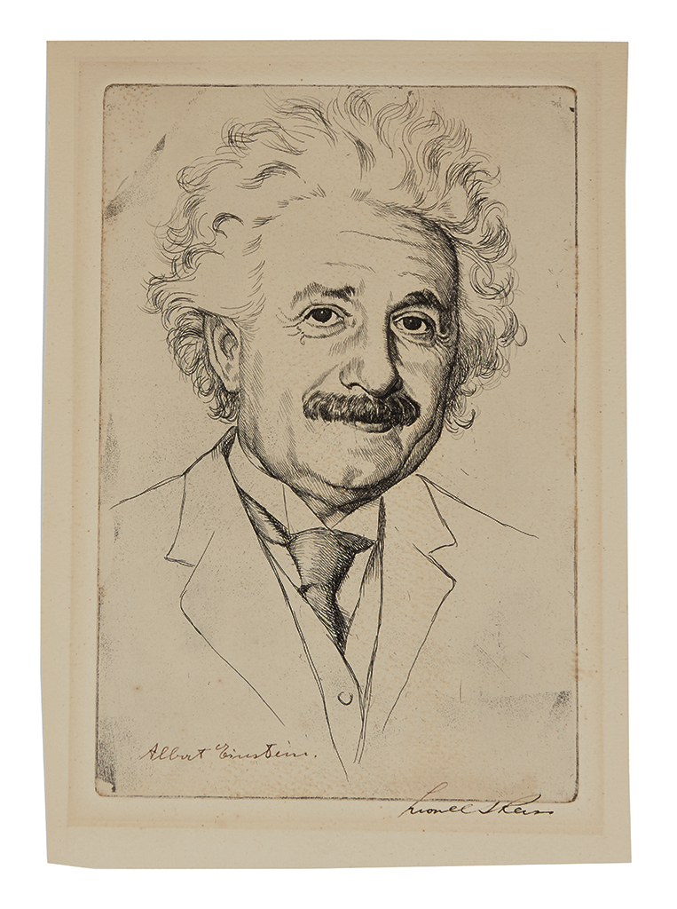 (SCIENTISTS.) EINSTEIN, ALBERT. Etched bust portrait of him by Lionel S. Reiss, Signed at lower left, showing him looking at viewer.