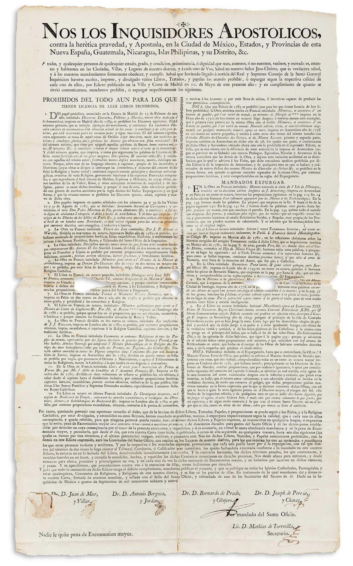 (MEXICAN-IMPRINT--1789)-Inquisition-broadside-forbidding-sev