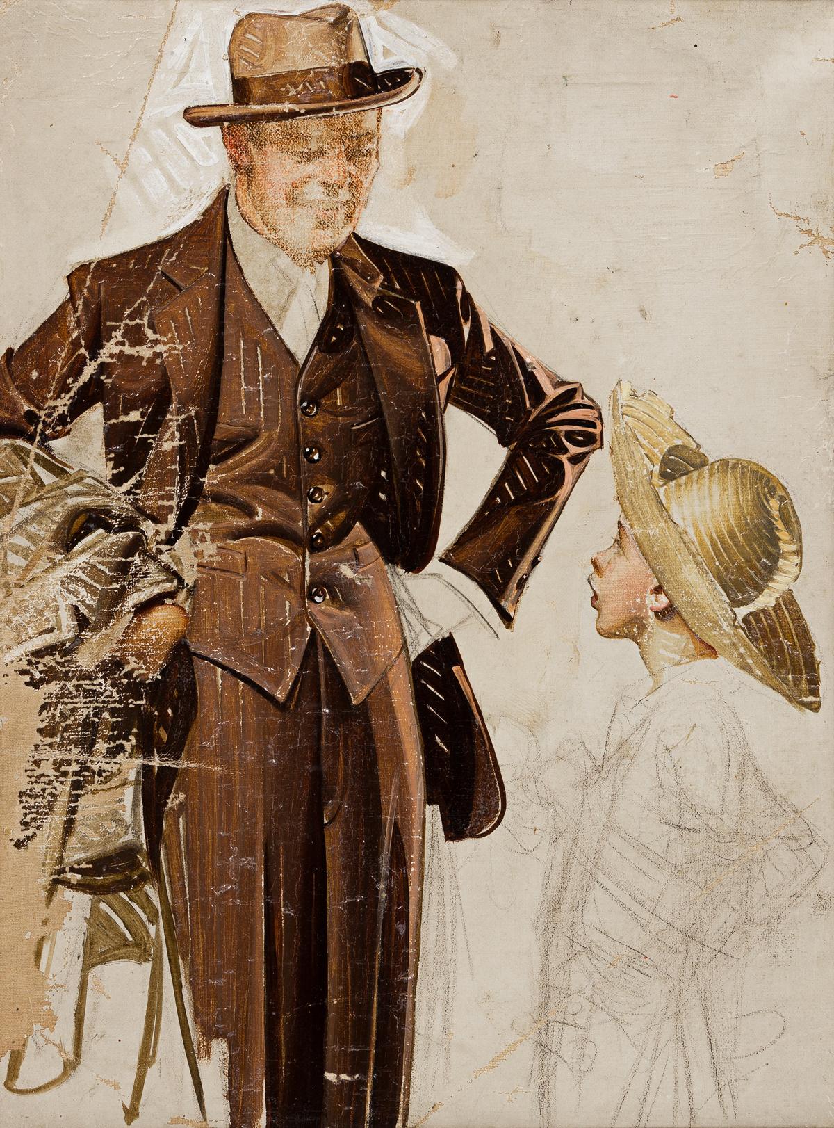 JOSEPH CHRISTIAN LEYENDECKER (1874-1951) Kuppenheimer clothing advertisement study. [ADVERTISING / MENS FASHION]