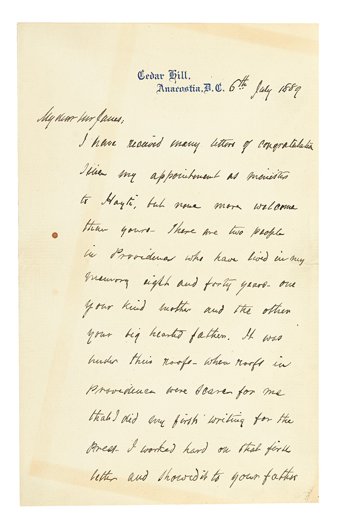 (SLAVERY AND ABOLITION.) DOUGLASS, FREDERICK. Autograph Letter Signed to one of the sons of Alphonso Janes of Providence, RI.