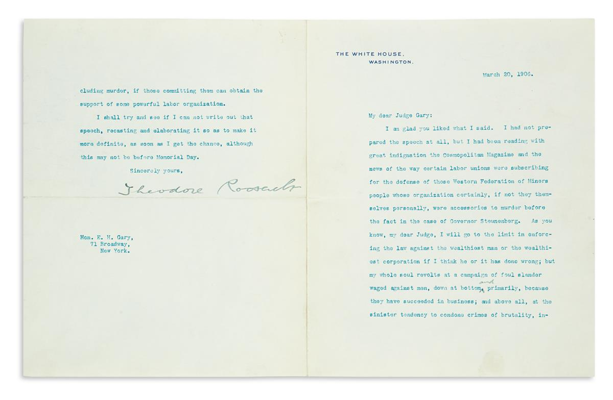 ROOSEVELT, THEODORE. Small archive of 9 Typed Letters Signed, as President, to U.S. Steel co-founder Elbert Henry Gary,