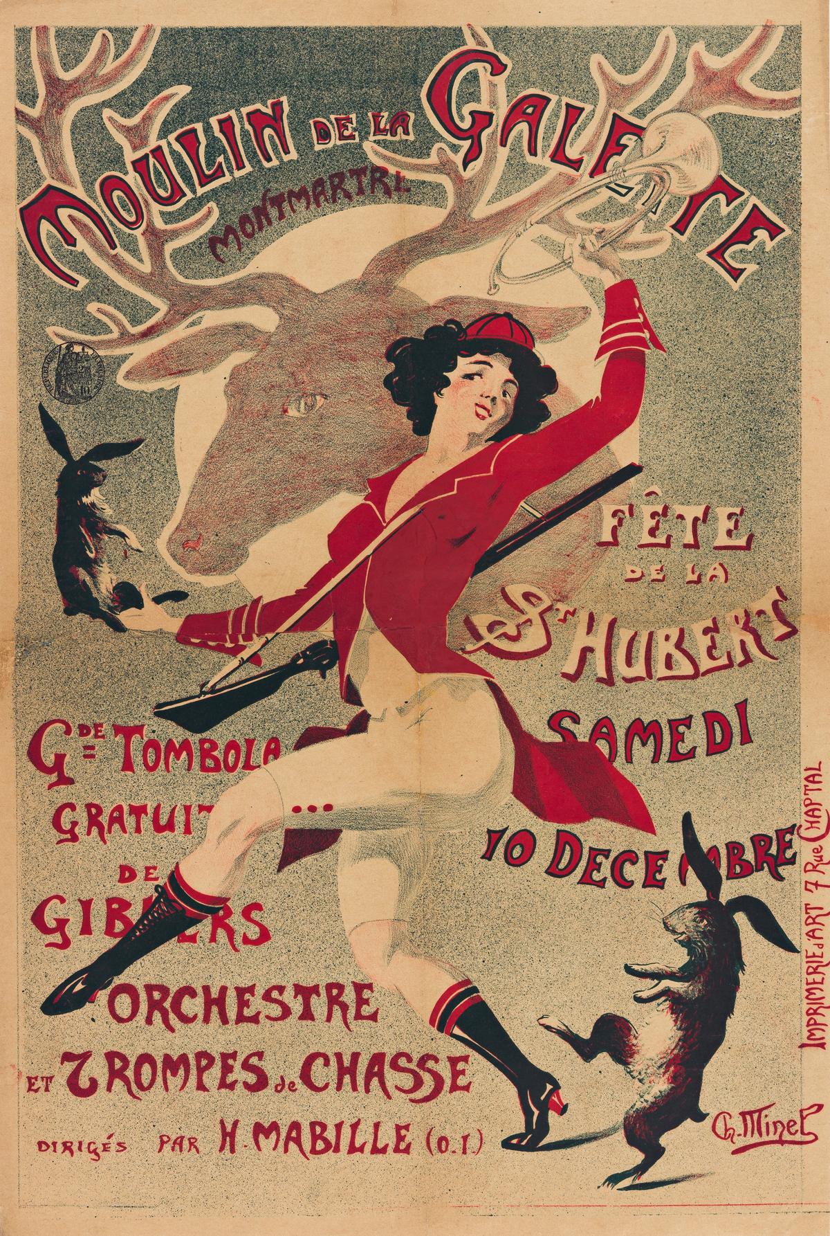 CH. MINEL (DATES UNKNOWN).  MOULIN DE LA GALETTE. Circa 1900. 22x15 inches, 57x38 cm. Imprimerie dArt, Paris.