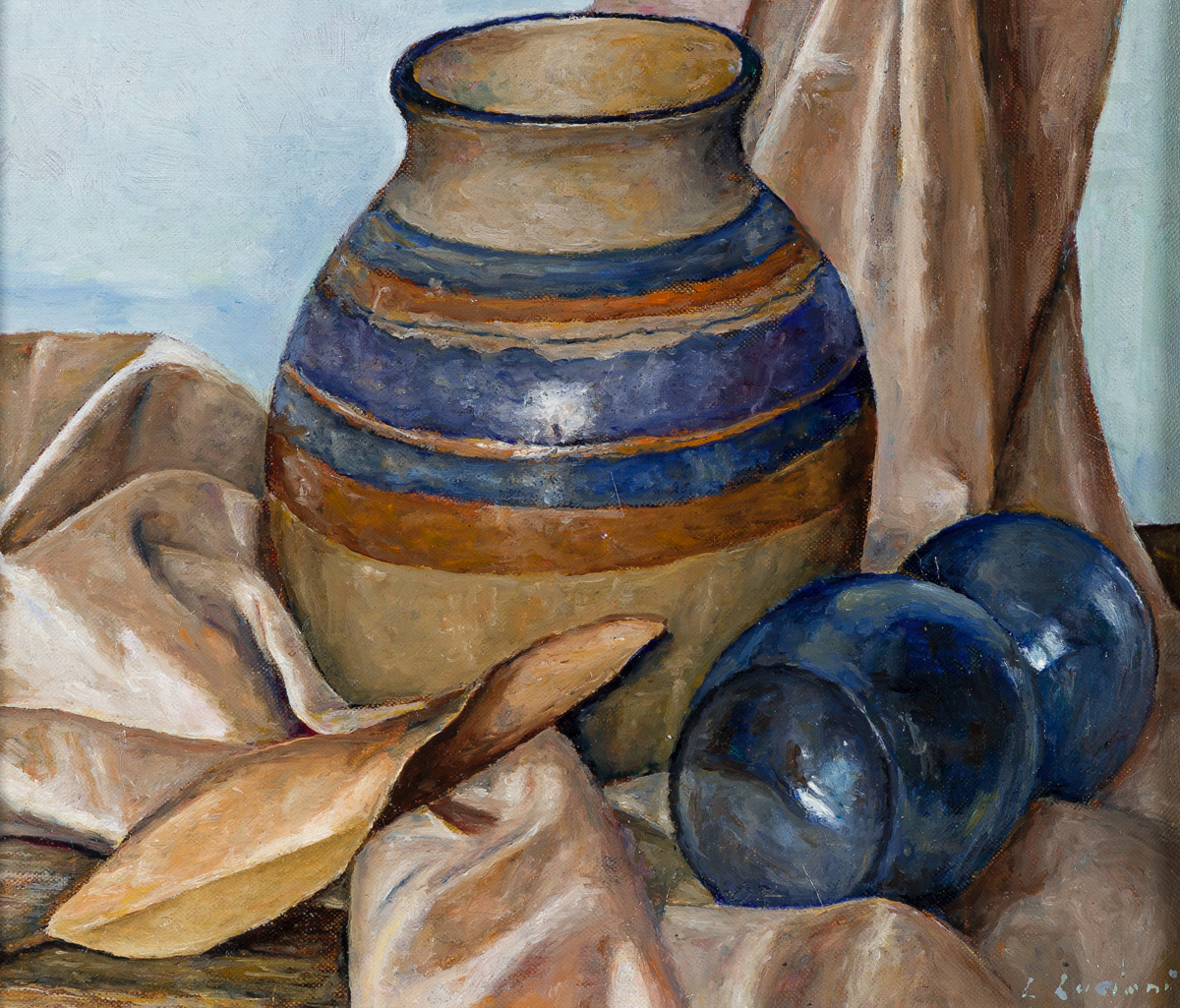 LUIGI LUCIONI Still Life with a Vase, Glass and Magnolia Leaf.