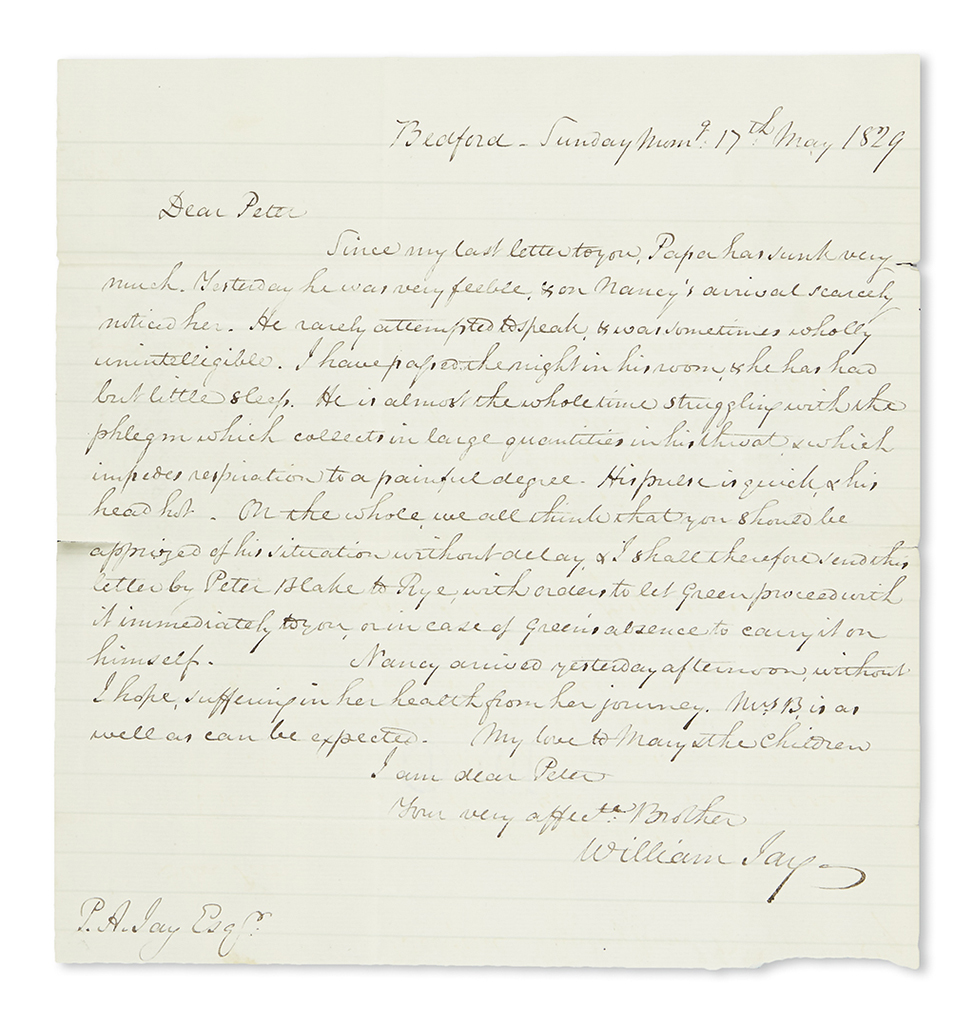 (NEW YORK.) Correspondence of Peter Augustus Jay, including a letter written on his father John Jays deathbed.