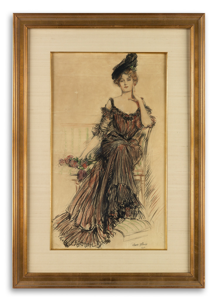ALBERT-STERNER-Society-lady-in-gown-and-hat