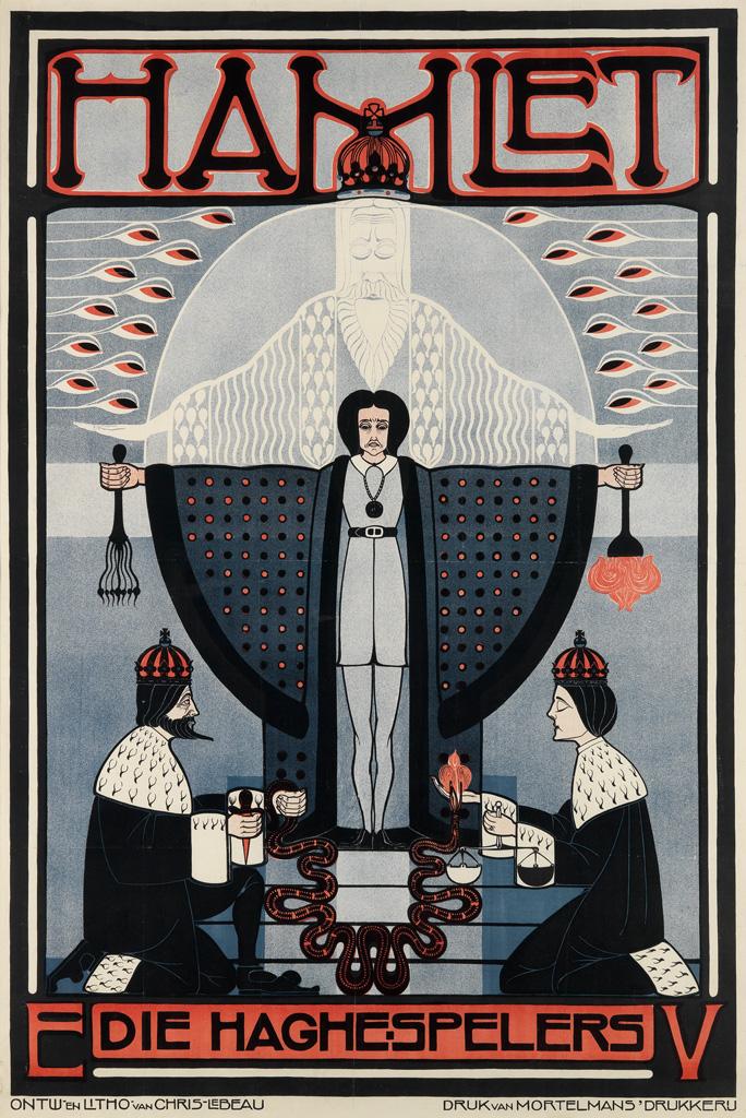 CHRIS LEBEAU (1878-1945). HAMLET. 1914. 48x32 inches, 122x82 cm. Van Mortelmans Drukkereij, [Antwerp.]