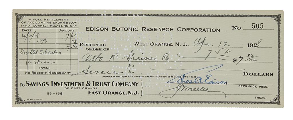 EDISON-THOMAS-A-Partly-printed-Check-Signed-ThosAEdison-as-E