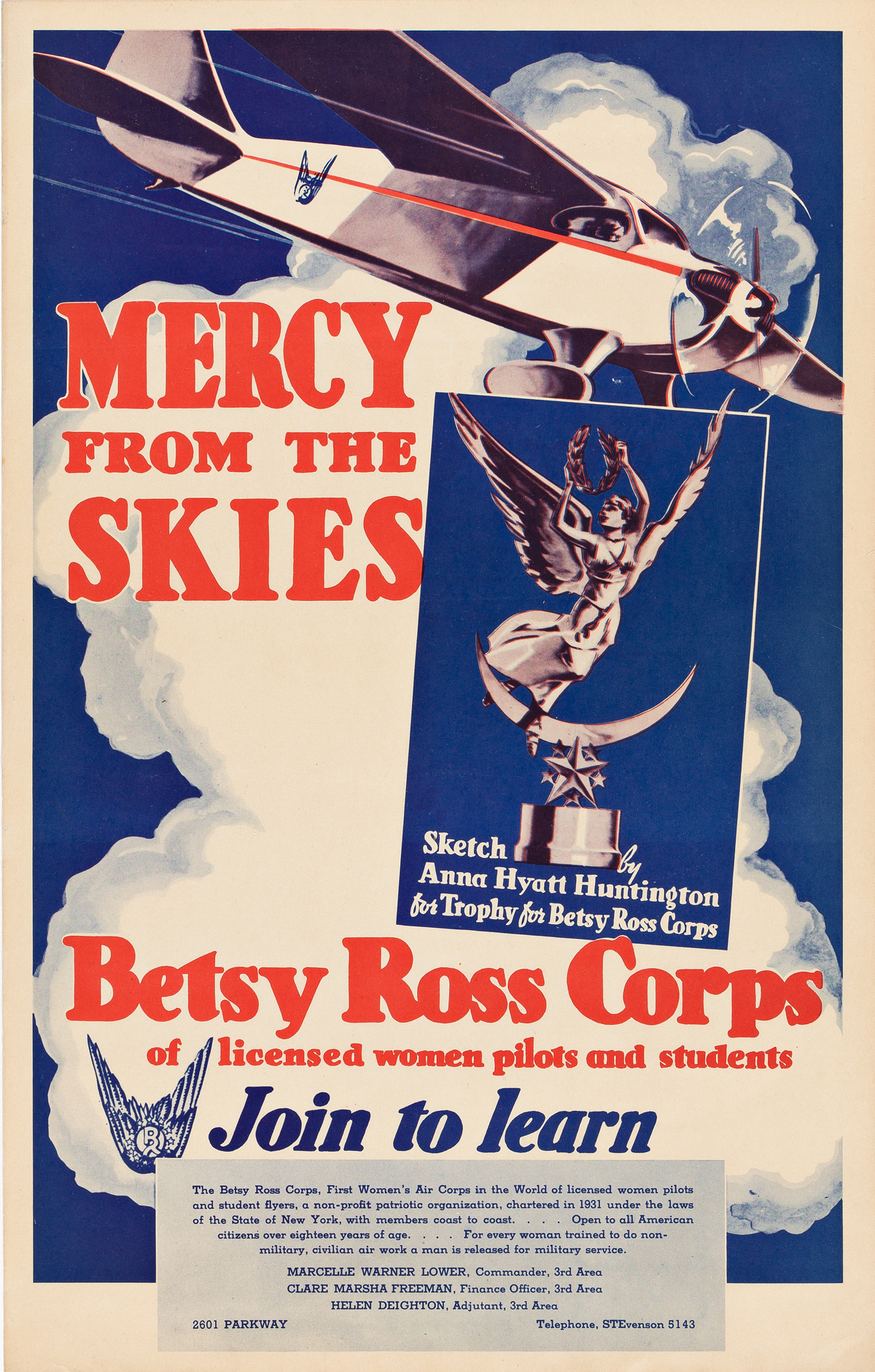 SKETCH BY ANNA HYATT HUNTINGTON (1876-1973).  BETSY ROSS CORPS / MERCY FROM THE SKIES. Circa 1931. 20x12¾ inches, 50¾x32½ cm.