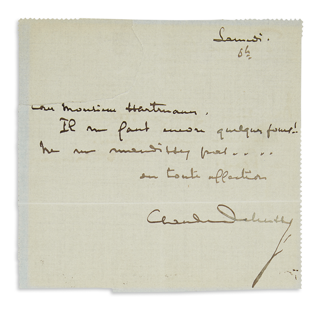 DEBUSSY-CLAUDE-Brief-Autograph-Letter-Signed-to-music-publis