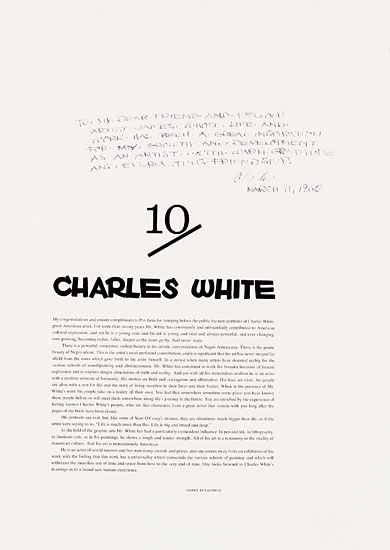 (ART.) WHITE, CHARLES. Charles White 10. Introduction by Harry Belafonte.